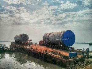 Nimbus Logistics undertakes transportation of Super Over Dimensional Cargo from Thane to Kochi using a combination of Hydraulic Axles and Barge.