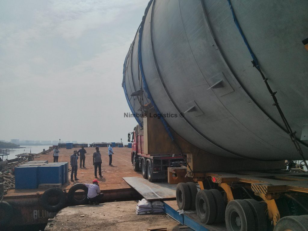 RO-RO operation executed by Nimbus Logistics while transporting Super Heavy and Oversized packages from Thane to Kochi.