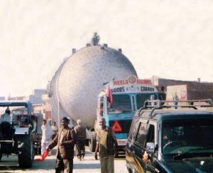 The above photo shows a critical over dimension cargo admeasuring 4.8m height being transported by Nimbus Logistics (Neelu Roadways is our sister concern) in 1989. In 90s, there were a lot of low hanging electric wires which had to be lifted and lack of proper roads meant we had to built many temporary roads to reach the destination.