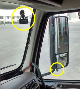 Two Cams on Windshield and Side Mirror of Trailer