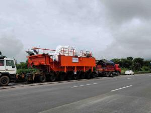 Heavy ODC Cargo on Pune Express Way being Transported on Hydraulic Axle Modular Trailer