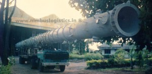 Cabin Cut Method for transporting Bullet shaped 145 long tanks on Low and Semi-Low Bed Trailers. From Vikhroli, Mumbai, Maharashtra to Vishakapatnam, Andhra Pradesh.