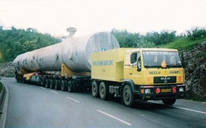 Nimbus Logistics MAN 280 + 10 Row Hydraulic Axles + Spacer. From Mumbai Port, Maharashtra to Kala Amb, Himachal Pradesh