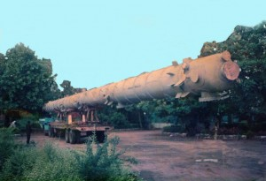 Cabin Cut method for Transporting Bullet shaped 145 feet long tanks. From Vikhroli, Mumbai, Maharashtra to Vishakapatnam, Andhra Pradesh.